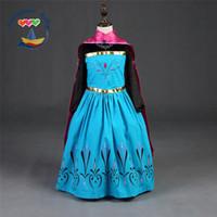 Wholesale Shawls Dress 2pcs - Girls Princess Set For 2015 Hot Cartoon Children Frozen Dress + Shawl 2Pcs Suit Sweet Kids Clothing Set For Party Fit 5-10 Age 110-150