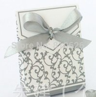 Wholesale Wedding Cake Favour Boxes - Free shipping 50pcs Silver Ribbon Gift Paper Bags Candy Box Wedding Party Cake Favour Favor Gift Boxes