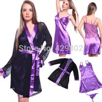 Wholesale Satin Nightdress Set - w1031 2015 Hot Sales Sexy Lady WOMEN Satin Lace Robe Sleepwear Lingerie Nightdress G-string Pajamas Set