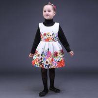 Wholesale Dip Hem Dresses - Pettigirl Retail Autumn White Girls Dress Sleeveless Little Girl Princess Dresses With Printed Dipped Hem Kids Clothes GD80928-22