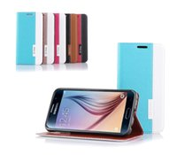 Wholesale Cross Line Case - Flip PU Leather Cross Lines Cover Cases With Card Slot For Samsung Galaxy S6 HTC M9 Cell Phone Stand Holder Case