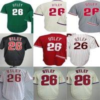 Wholesale Philadelphia Kid - Cheap 2015 Newest Mens Womens Kids Philadelphia #26 Chase Utley Beige Grey White Red Black Green Baseball Jerseys Hot sale Wholesale
