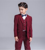 5pcs Neonati maschi Blazer Vestito da ragazzo per matrimoni Prom Formal Wine Red Dress Wedding Boy Suit