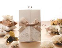 Wholesale White Embossed Wedding Invitations - Free shipping 50Sets Vintage Embossed Tri-fold Wedding Invitation With Ribbon Bow+50Envelopes+50Seals+50Cards Free Printable MYF123