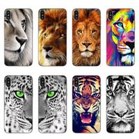 léopard iphone 5s achat en gros de-Pour iPhone X cas Lion Tiger Leopard TPU peinture retour silicone téléphone Coque de protection pour iphone 5S 6S 7 8 Plus Samsung Galaxy S7 bord S8 Plus