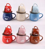 Wholesale Zakka Mugs - Free shipping 72pcs lot zakka enamel mug Cookies candy color zakka ceramic cup milk coffee mug 8*7cm