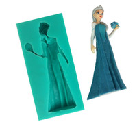Wholesale Princess Molds - Elsa Princess Queen Silicone 3D Soap Molds Fondant Cake Decorating Tools Sugar Craft Mould Chocolate Gum Paste Girls Birthday Baking Cooking