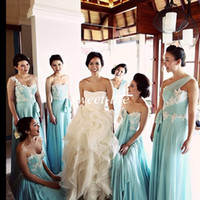 Wholesale Short One Shoulder Mint Dresses - 2016 Mint Long Bridesmaid Dresses Cheap White Lace Chiffon A-Line Sash One Shoulder Mix and Matched Maid of Honor Evening Gowns Prom Dresses