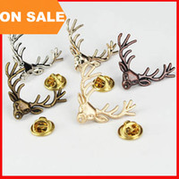 Wholesale Women Suit Wholesale China - 5 colors Retro Antlers Brooch pin Shirt Suit Collar pin gold Deer Antlers Head brooch animal model pins for women men Christmas gift 170223