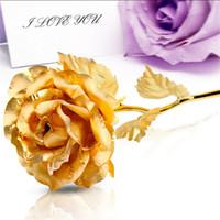 Wholesale Golden Flowers Decorations - Wholesale-Kunstbloemen Gold Rose Wedding Decoration Golden Rose Valentine's Day Gift Gold Decor Flower flores artificiales para decoracion