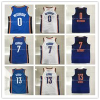 Wholesale Mens Polyester Shorts - Mens 2017-18 New season jerseys 0 Russell Westbrook 7 Carmelo Anthony 13 Paul George 100% Stitched jersey free shipping