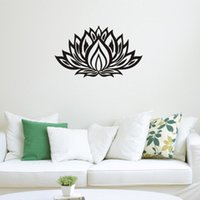 Wholesale Lotus Decals Stickers - Lotus Flower Yoga Wall Decals Vinyl Art Mural Bedroom Wall Sickers Home Decor