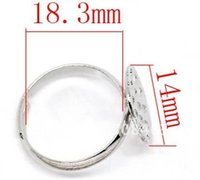 Wholesale Silver Tone Blank Rings - Ship Free ! 300pcs lot dull silver tone Ring Base Blank Findings Ring Setting 19mm * 14mm
