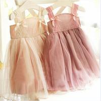 Wholesale korean children dress style - summer korean children clothes girls dress lace Shoulder strap baby girl pink lace dress girl tutu dress princess lace yarn dress children
