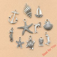 Wholesale Turtles Shells Wholesale - 110Pcs Mixed Tibetan Silver Plated Anchor Starfish Shell Mermaid Dolphin Turtle Charms Pendants for Jewelry Making DIY Craft Accessories