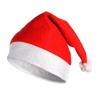 Wholesale Cheap Hat Decorations - adult Santa Claus red Cap Soft cheap Red Christmas decoration Hat Christmas happy party Gifts stocking Christmas Hot sale 60pcs lot