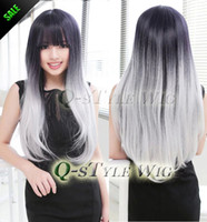 Wholesale Creamy White - New arrival Synthetic Wig, Two Tone Color wig Ombre Harajuku neat bang Style black to creamy-white  beige Heat Resistant Wig