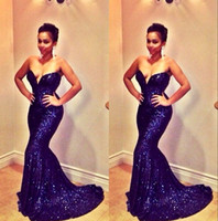 Fishtail Sexy Navy Blue Sweetheart Sleeveless Court Train Backless Mermaid Sequins Prom Dresses Sequins Party Gowns Club Wear Бесплатная доставка