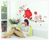 Wholesale Elegant Living Room Sets - Free shipping Hot Sale Elegant Art For Home TV Background Wall Set Home Decor DIY Rose Flower Wall Stickers 130 * 78cm