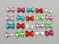 Wholesale Embellishments Bows - 200 Mixed Color Flatback Bowknot Bows Rhinestone Gems 10x7mm Embellishments