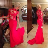 Wholesale Sexy Dress For Night Party - new dresses for women red lace dress long Sleeve Lace Mesh Formal Evening Party Dress Long Maxi Chiffon Mermaid Prom Growns free shipping