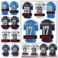 Wholesale Angeles Bowls - Men's Los Angeles #99 Joey Bosa 17 Philip Rivers Home Navy Blue White 100% Stitched