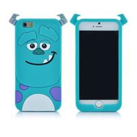iphone verde azul venda por atacado-Hight qualidade Bonito Dos Desenhos Animados 3D sully verde azul Monstros Caso capa de silicone macio Sulley case Para A Apple iphone 5 5s 6 6 s plus