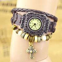 Wholesale leather wrap around bracelet - Hot Selling Retro Quartz Fashion Weave Wrap Around Leather Bracelet Bangle Cross Women Girls Wrist Watch Mix Colors