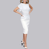 Wholesale Sexy Business Casual Dresses - 2015 Sexy Women Dresses Elegant Vintage Ruched Tunic Business Casual Party Bodycon Slim Waist Midi Pencil Work Dress Vestidos FG1511
