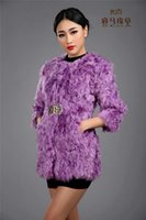 Wholesale Outerwear Greatcoats - Wholesale-Purple voilet metal buckle women genuine lamb fur coat, lamb hair outerwear, winter warm plus size jacket greatcoat customized