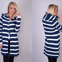 Wholesale Women S Long Hooded Cardigans - New arrival 2015 women autumn fashion casual sweaters striped hooded full sleeves single button long cardigans FG1511