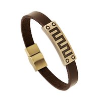 Wholesale Leather Lining China - Fashion popular Geometric lines Alloy Leather Bracelets Retro Bronzed ID Magnetic Bracelet Hand strap Wristbands For Man and Women Jewelry