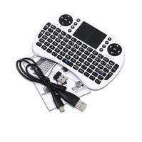 fly box tv оптовых-Rii i8 Remote Fly Air Mouse мини-клавиатура беспроводная 2.4 G сенсорная панель для MXQ MXIII MX3 M8 CS918 M8s Bluetooth TV BOX черный 10 шт.