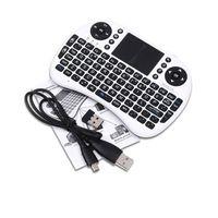 bluetooth klavye fare i8 toptan satış-Rii i8 Uzaktan Fly Air Fare mini Klavye Kablosuz 2.4G MXQ MXIII MX3 M8 CS918 M8S Touchpad Tuş Takımı Bluetooth TV KUTUSU Siyah