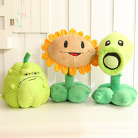 Barato Bonecas Bonitos Do Zombi-Atacado- 30cm Plantas vs Zombies Brinquedos de peluches Cute Pea Shooter Chifres de girassol Soft Stuffed Doll Kids Toys
