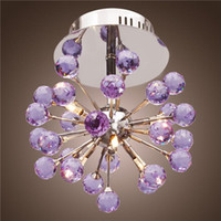 Moderno 6-Light Floral Shape K9 Crystal Ceiling Light-Purple, Mini Style Flush Mount, Chandeliers para sala de crianças, quarto, sala de estar