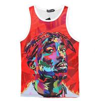 Wholesale Rock Tank Tops For Men - Alisister Tupac Shakur 2Pac tank tops for women men Summer red black 3d Vest Casual funny Rock punk sleeveless T shirt tank top