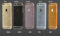 pele do lado do iphone venda por atacado-Luxo full body bling diamante brilhante glitter rainbow frente parte traseira da tampa da etiqueta da pele para iphone 6 7 6 s plus se 5s