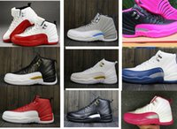 Wholesale Nude Chinese Women - 2017 Air retro 12 Women basketball shoes Chinese New Year PSNY Flu Game Hyper Violet OVO Dynamic Pink Athletic sports sneakers size 36-40