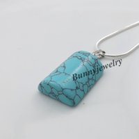 Wholesale Arc Shipping - 20x15mm Natural Turquoise Arc Pendant Necklace 42cm Silver Tone Semi-Precious Stone Necklace 24pcs Wholesale Free Shipping