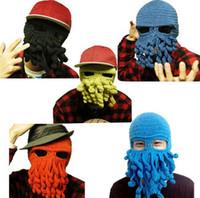 маска с осьминогами оптовых-Мужская осьминог шляпа шапки зима теплая вязаная шерсть лыжная маска для лица шляпа кальмара Ктулху щупальца Шапочка шляпа борода шляпы дети шляпа