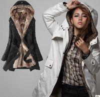 Wholesale Korean Plush Brands - Wholesale-2015 new brand Cotton long winter women jacket fashion plush removable fur liner thick warm padded coat Korean Women parka