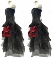 Wholesale Tulle Bustle - Red And Black Flower Gothic Corset High Low Prom Dresses 2017 Steampunk Outfit Strapless Hi Lo Bustle Party Gowns