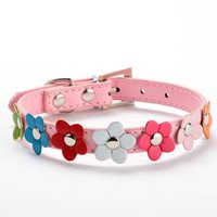Wholesale Studded Leather Harness - Studded Pet Leather Collar Buckle Puppy Dog Neck Strap Cat Collar Sweet Flower Collar