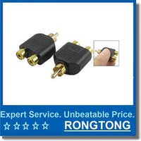 Wholesale Rca Audio Plugs - RCA Y Splitter Phono Audio Video Y Splitter Socket Adapter Cable TV Lead Plug Adapter 1 Male to 2 Female