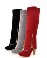 Wholesale united works - 2017 autumn winter Europe and the United States new fashion ladies large size frosted stitching zipper boots Womens warm temperament was thi
