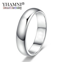 anéis de ouro branco de qualidade venda por atacado-YHAMNI Perder Dinheiro Promoção Real Pure White Gold Anéis Para Mulheres e Homens Com 18KGP Selo 5mm Top Quality Cor de Ouro Anel Jóias BR050