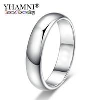 les hommes en or blanc achat en gros de-YHAMNI perdre de l'argent Promotion réel pur blanc anneaux d'or pour femmes et hommes avec 18KGP timbre 5mm top qualité couleur or bague bijoux BR050