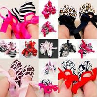Wholesale Pink Zebra Print Ribbon - Wholesale-2015 Baby Toddler Girl Dot Damask Zebra Leopard Print Silk Ribbon Shoe Newborn On Sale & Time-limited