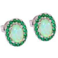 Wholesale Emerald Earrings Oval - Promotions! Fashionable woman with green opal oval ear studs showing cubic zirconia charm of women's earrings